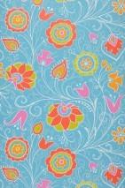 Papier peint Flora Mat Fleurs stylisées Bleu turquoise clair Vert jaune Jaune or Orange Rose vif Blanc