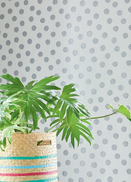 Papel pintado geométrico Papel pintado Corbetta plata brillantina Ver habitación