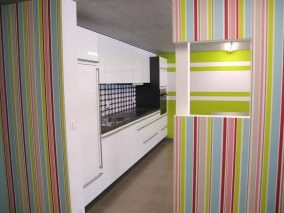 Wallpaper Zethos Matt Stripes White Yellow green Light grey beige Pastel turquoise Ruby red