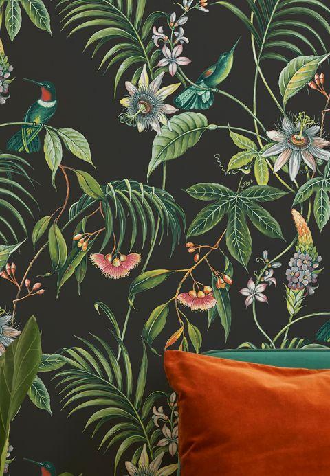 Papier peint botanique Papier peint Oasis noir Vue pièce