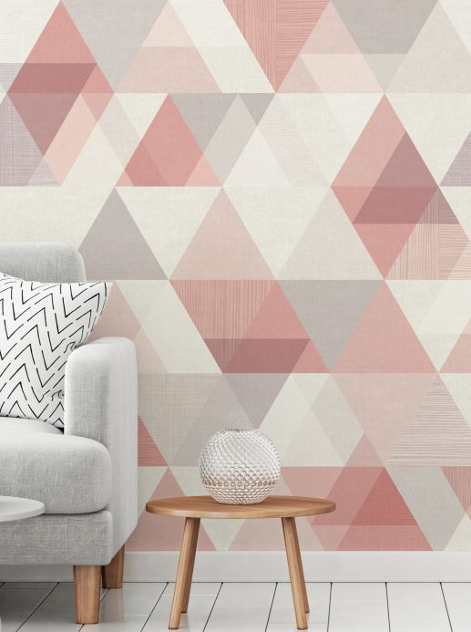 Geometric Wallpaper Wall mural Orlando rosè Room View
