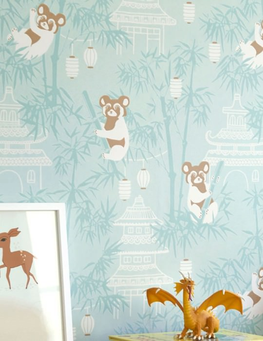 Papel de parede Bambu Efeito estampado à mão Mate Folhas de bambú Edifícios Lanternas Ursos panda Turquesa pastel Branco creme Turquesa menta Marrom azeitona