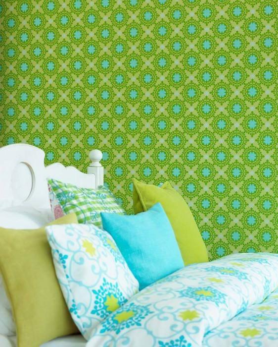 Wallpaper Hadit Matt Small ornaments Light yellow green Yellow green Pastel turquoise lustre