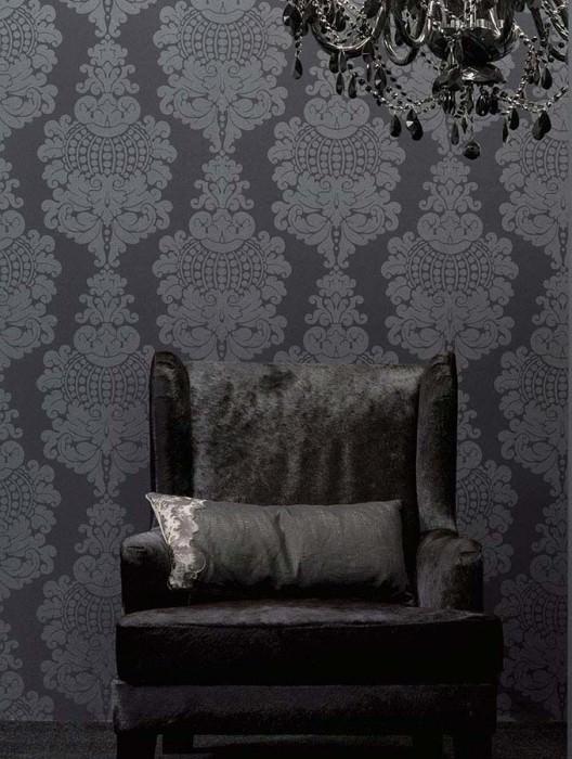 Wallpaper Budai Shimmering pattern Matt base surface Baroque damask Anthracite Black grey shimmer