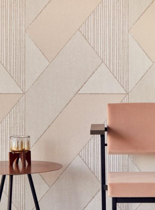 Papier peint Kolana Mat Éléments géométriques Crème Blanc crème Blanc gris Or nacré