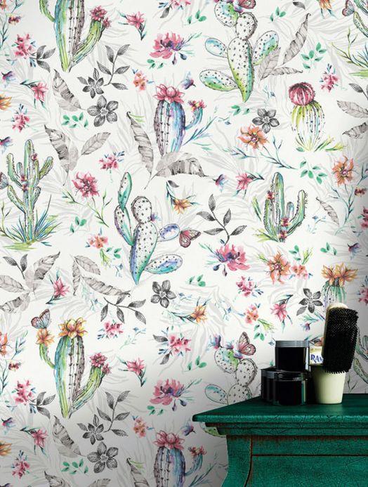 Archiv Papier peint Cactus Plain rosé Vue pièce