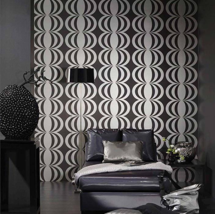 Wallpaper Perseus Matt Oval ornaments Black Silver