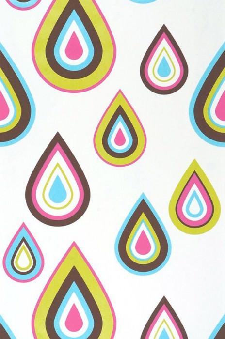 Wallpaper Marilis Matt Drops White Dark brown Yellow green Light blue Pink