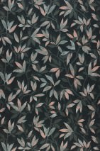 Wallpaper Dagista Matt Leaf tendrils Black green Pale green Mint turquoise Pale pink