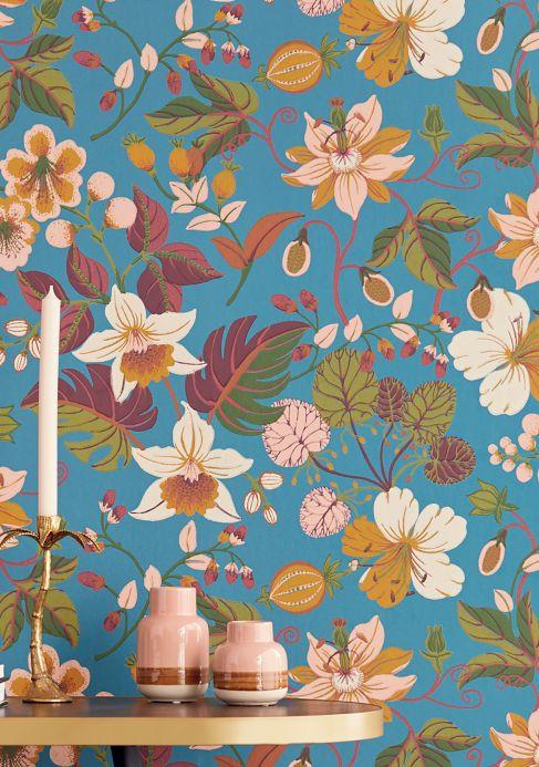 Papier peint floral Papier peint Frederika bleu océan Vue pièce