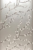 Wallpaper Kyoto Matt pattern Shimmering base surface Cherry blossoms Branches with blossoms Silver grey shimmer Beige Black brown White