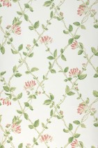 Wallpaper Midori Matt Flower tendrils Grid White Brown red Ivory Shades of green