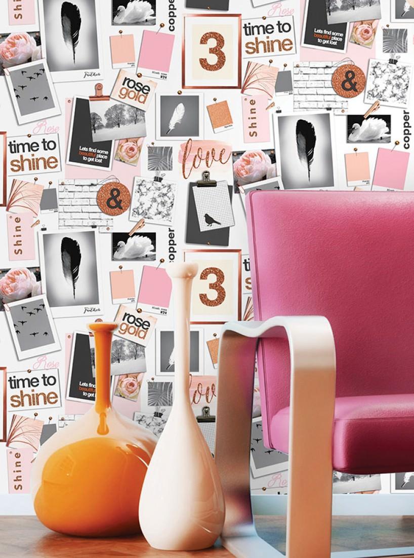 papier peint picture pins blanc cr me brun orang. Black Bedroom Furniture Sets. Home Design Ideas