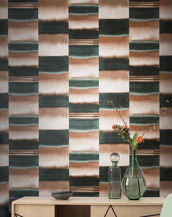 Wallpaper Fenegra Matt Graphic elements Stripes Beige brown Blue Green Mint grey White brown