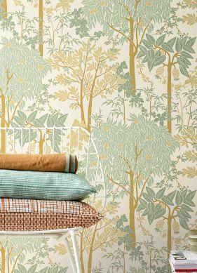Wallpaper Mirabelle pastel green Raumansicht