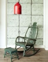 Wallpaper Brooklyn Tins 05 Matt Shabby chic Imitation enameled iron tiles Pastel green Grey Black grey