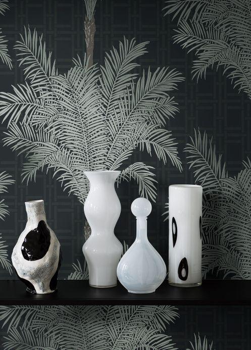 Botanical Wallpaper Wallpaper Hazara umbra grey Room View