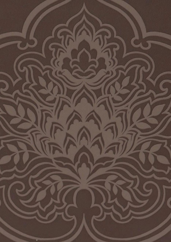 Papel pintado maharani marr n chocolate oro marr n for Papel pintado marron chocolate