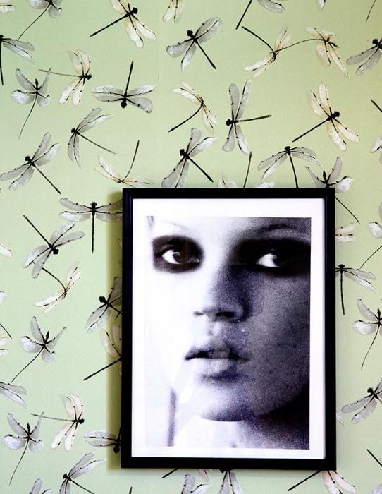 Wallpaper Dragonfly Matt Dragonflies Light pastel green Gold shimmer Black grey Silver shimmer White