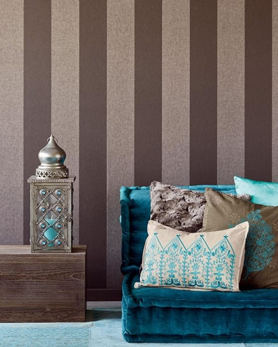 Wallpaper Astale Shimmering pattern Matt base surface Stripes Anthracite Matt silver