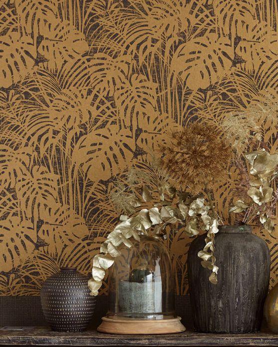 Papel pintado botánico Papel pintado Persephone oro perla Ver habitación
