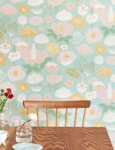 Wallpaper Little Light Hand printed look Matt Leaves Blossoms Rabbits Pastel green Beige red Cream Gorze yellow  Green