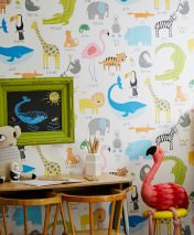 Wallpaper My favorite Animals Matt Animals Cream Blue Yellow Grey Green Orange