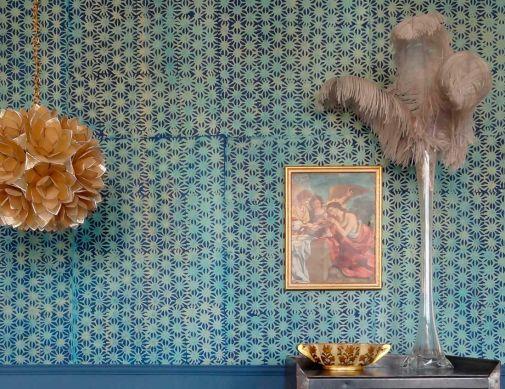 Papel pintado Methok azul oscuro Ver habitación