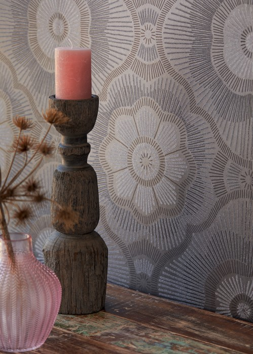 Wallpaper Riverana Shimmering Large stylised blossoms Grey brown shimmer Dark brown Dark brown glitter Grey glitter