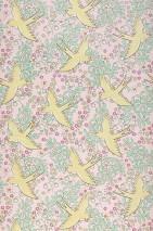 Papel pintado Marianella Mate Hojas Flores Pájaros Rosa pálido Amarillo pálido Violeta érica brillante Verde claro