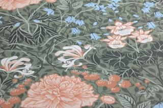 Papier peint Lovisa Mat Feuilles Fleurs Fruits Damassé historique Vert olive clair Blanc gris Brun cuivré Vert sapin Vert blanc