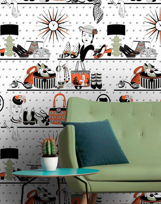 Dupenny Wallpaper Accessories red orange Room View