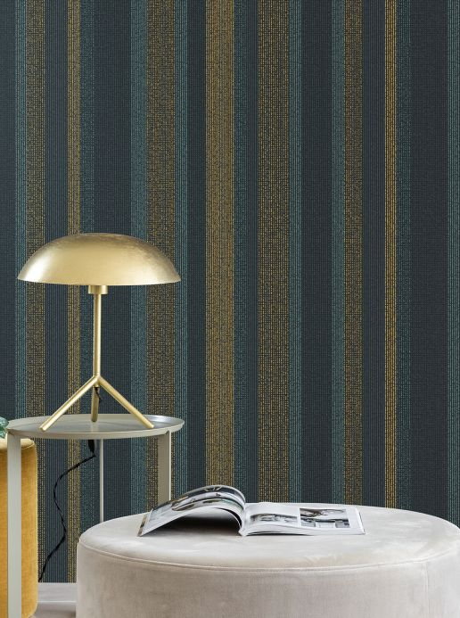 Striped Wallpaper Wallpaper Tekin golden yellow Room View