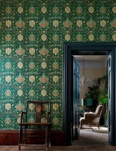 Wallpaper Embry Matt Floral damask Stylised Flower Tendrils Pine green Anthracite Beige Pale brown Orange