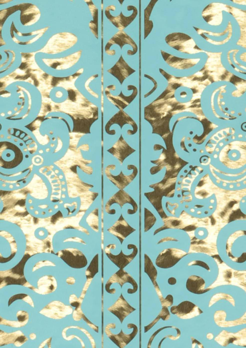 Papel pintado monaco oro lustre turquesa pastel for Papel pintado color turquesa