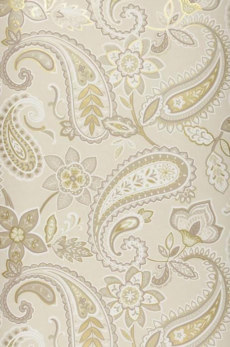 Wallpaper Delba Matt Floral Elements Paisley pattern Cream Gold shimmer Grey beige Green beige Olive grey shimmer White