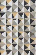 Wallpaper Vector Matt Geometrical elements Pale orange Cream Grey Light beige grey Black