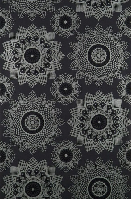 Wallpaper Poseidon Shimmering pattern Matt base surface Abstract blossoms Anthracite Black Silver