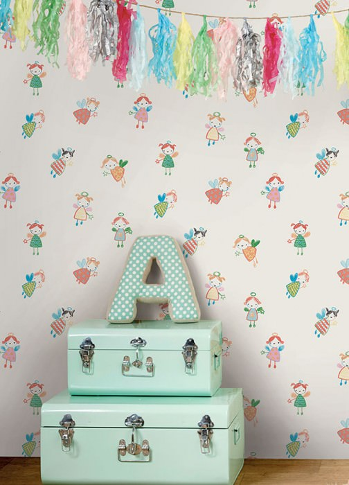 Wallpaper Ybalo Matt Fairies Cream Yellow Green Pastel blue Pastel violet Red orange