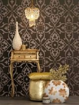Wallpaper Boreas Shiny pattern Matt base surface Modern elements Terra brown Bronze lustre