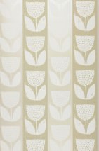 Wallpaper Ana Hand printed look Matt Shabby chic Stylised flowers Cream Yellow grey Pebble grey shimmer