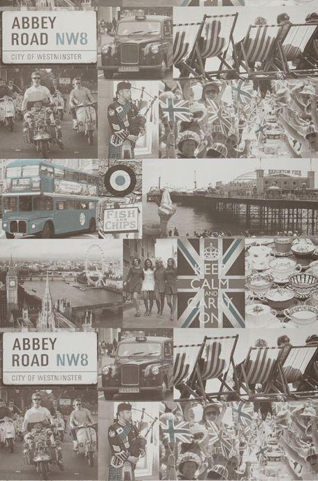 Archiv Tapete Abbey Road Braunweiss Bahnbreite
