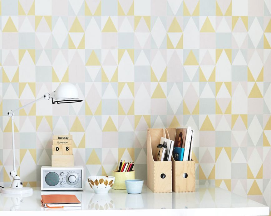 Geometric Wallpaper Wallpaper Alice lemon yellow Room View
