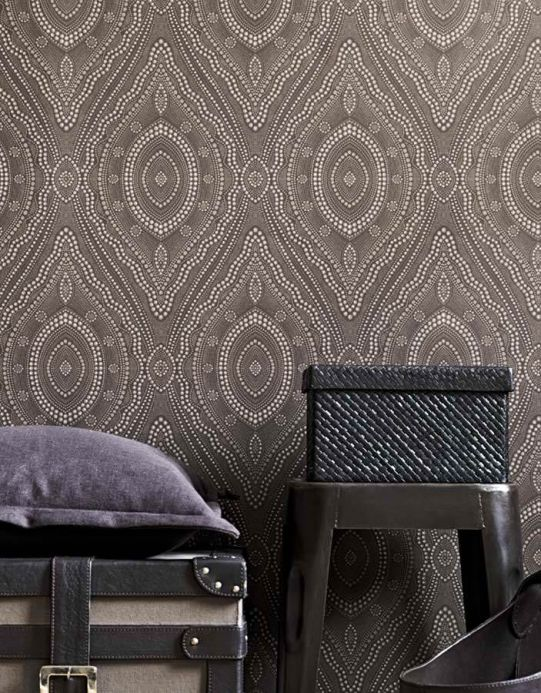 Archiv Wallpaper Salus grey white Room View