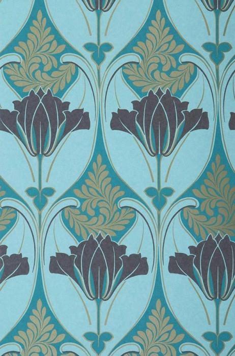 Wallpaper Lucina Matt Floral damask Pastel turquoise Gold Grey brown Turquoise