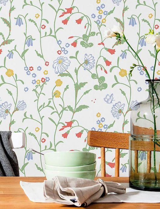 Papel pintado floral Papel pintado Eilis blanco Ver habitación