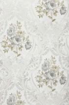 Carta da parati Meoni Opaco Fiori Damasco floreale Bianco grigiastro Grigio Grigio luce Grigio olivastro Grigio argento brillante