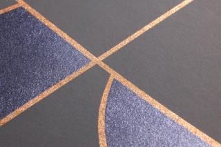 Papel de parede Otavio Padrão brilhante Superfície base mate Art Déco Elementos geométricos Cinza Quartzo Azul cobalto brilhante Laranja perolado