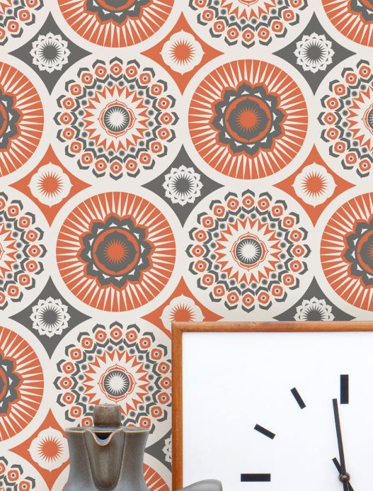 Vintage wallpaper Wallpaper Marelle red orange Room View