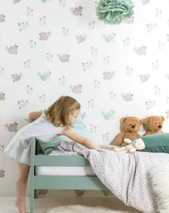 Papel de parede Nagini Mate Flores Pássaros Branco creme Cinza bege claro Turquesa menta claro Marrom avermelhado